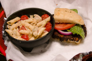 The Crestwood Tavern Birmingham, Alabama Veggie burger with pasta salad